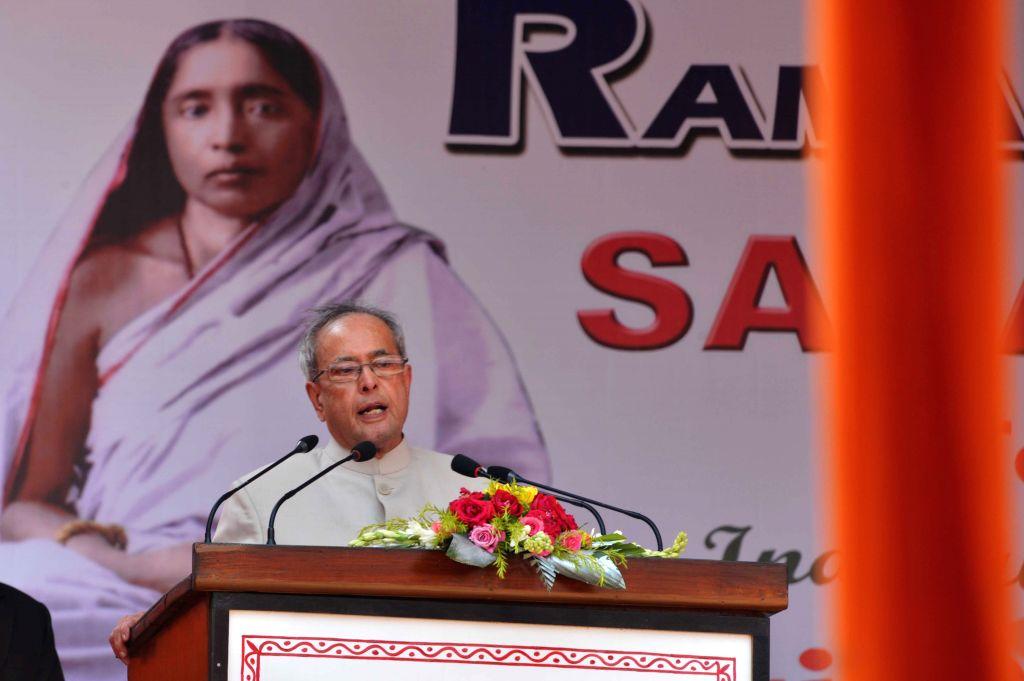 President Pranab Mukherjee addresses during inauguration of the new building of Sarada Ma Girls College in Barasat of West Bengal on April 2, 2015. - Pranab Mukherjee