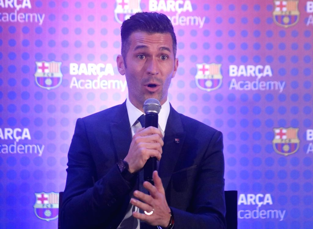 Barca Ambassador and Former FC Barcelona footballer Luis Garcia addresses during a press conference where the 2019 Asia-Pacific Soccer Cup trophy was unveiled, in New Delhi on Jan 24, 2019.