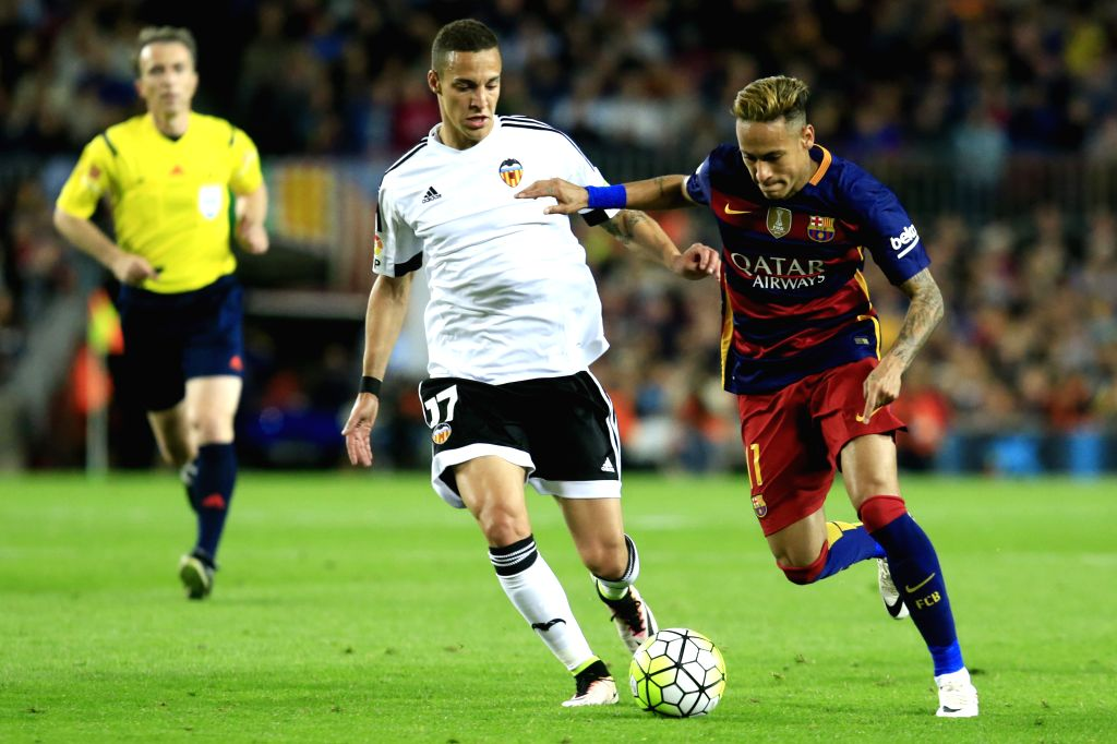 BARCELONA, April 18, 2016 - FC Barcelona's Neymar (R) vies with Valencia's Rodrigo (L) during Spanish first division League football match between FC Barcelona and Valencia CF at the Camp Nou stadium ...