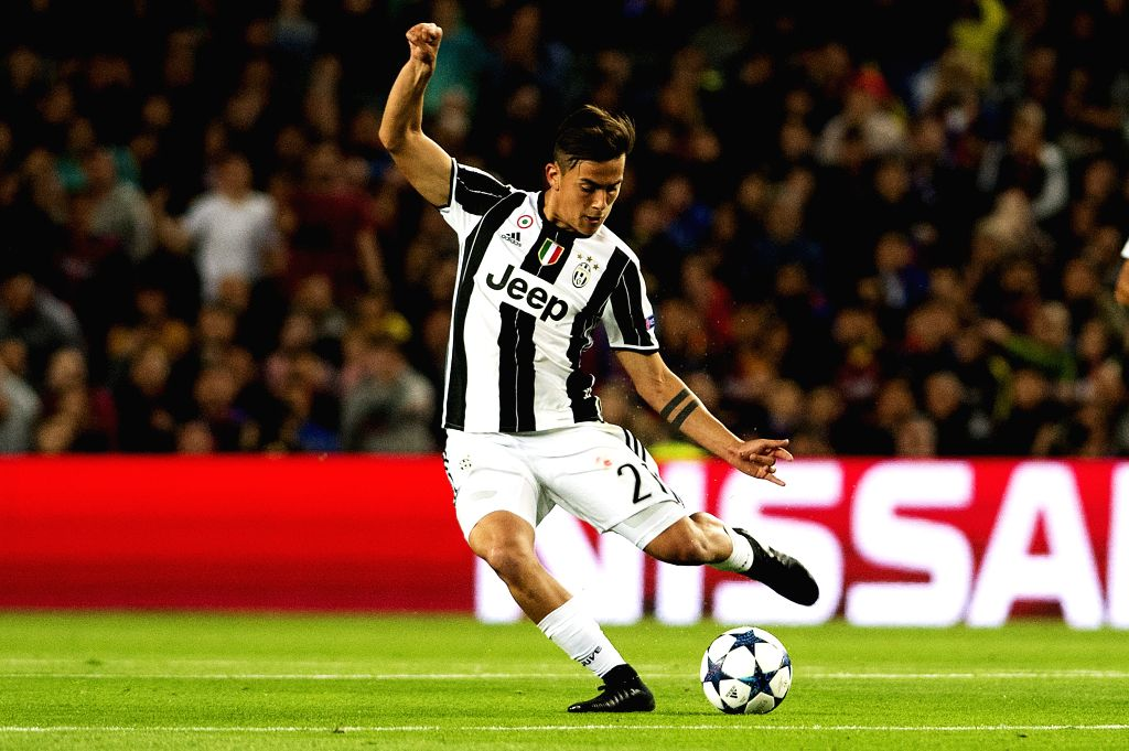 BARCELONA, April 20, 2017 - Juventus's Paulo Dybala shoots during the UEFA Champions League quarter final second leg match between FC Barcelona and Juventus FC at the Camp Nou Stadium in Barcelona, ...