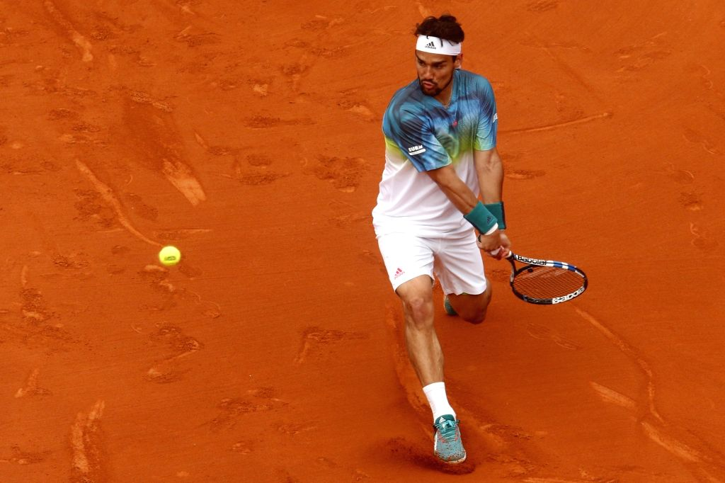BARCELONA, April 23, 2016 - Fabio Fognini of Italy hits a return to Rafael Nadal of Spain during the men's singles quarterfinal at 2016 Barcelona open tennis tournament in Barcelona, Spain, April 22, ...