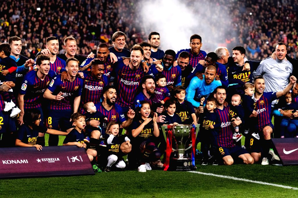 BARCELONA, April 28, 2019 - Barcelona's players celebrate with the trophy after a Spanish league soccer match between FC Barcelona and Levante in Barcelona, Spain, on April 27, 2019. FC Barcelona won ...