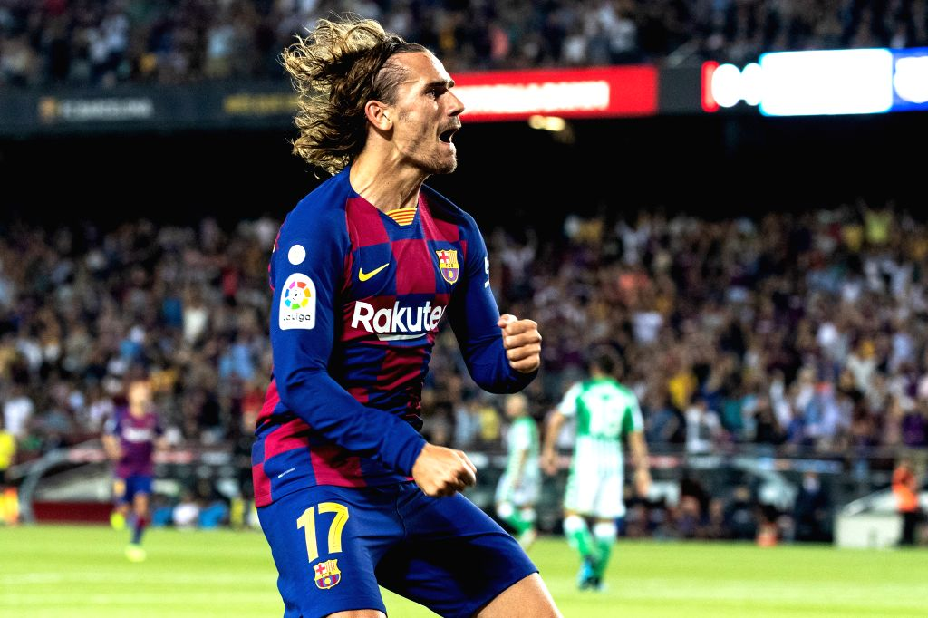 BARCELONA, Aug. 26, 2019 - FC Barcelona's Antoine Griezmann celebrates his scoring during the 2nd round Spanish league soccer match between FC Barcelona and Betis in Barcelona, Spain, on Aug. 25, ...