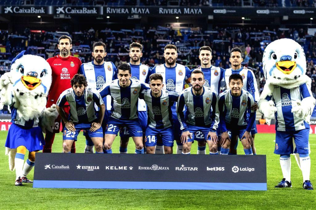 BARCELONA, Feb. 22, 2019 - Players of Espanyol take a group photo before  a Spanish league match between Espanyol and Huesca in Barcelona, Spain, Feb.22, 2019.