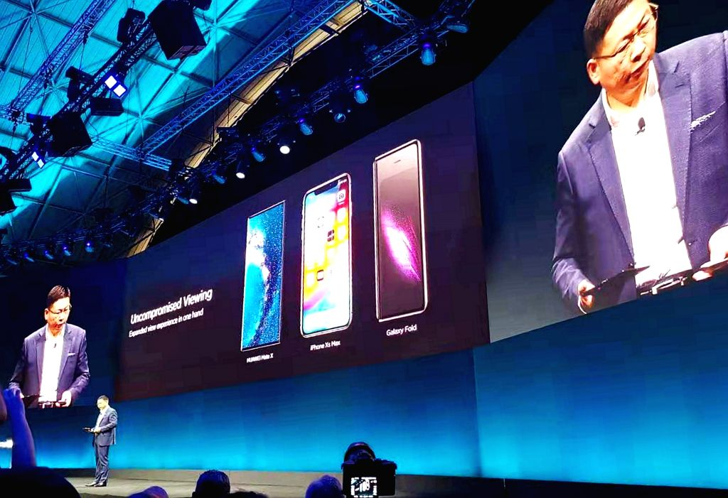 BARCELONA, Feb. 25, 2019 - Richard Yu, Consumer Business Group CEO of the Chinese tech company Huawei,  introduces Mate X, a foldable 5G ready smartphone, in Barcelona, Spain, Feb. 24, 2019. Chinese ...