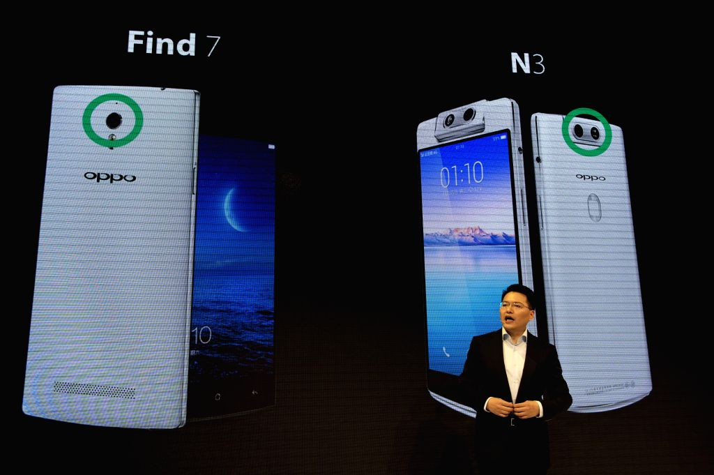 BARCELONA, Feb. 28, 2017 - Andy Jiang from OPPO speaks during the presentation of their new devices on the occasion of the Mobile World Congress (MWC) in Barcelona, Spain, Feb. 27, 2017.
