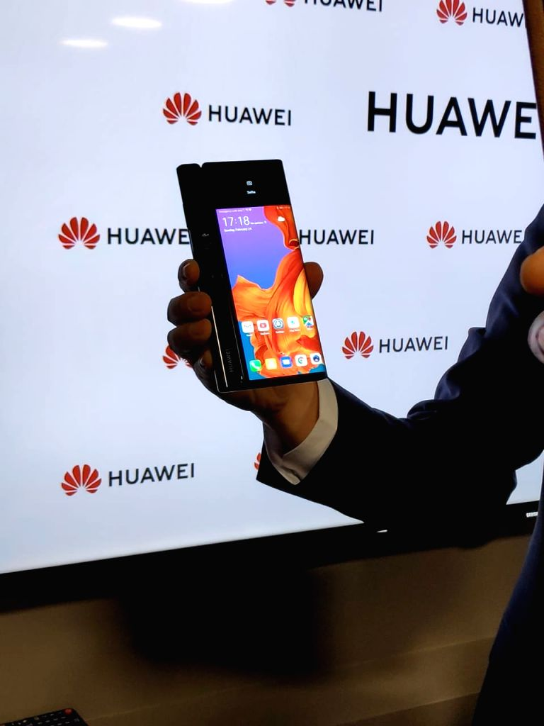 Barcelona: Huawei Mobile Handset Division President Kevin Ho unveils Mate X 5G foldable phone at the Mobile World Congress 2019 in Barcelona, Spain on Feb 24, 2019. (Photo: IANS)