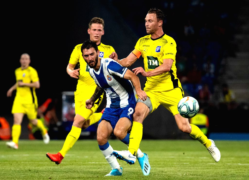 BARCELONA, July 26, 2019 - RCD Espanyol's Facundo Ferreyra (2nd R) competes during the Europa League qualifying second round between RCD Espanyol of Spain and Stjarnan of Iceland at RCDE Stadium in ...