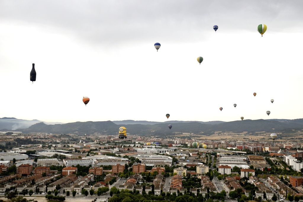 BARCELONA, July 7, 2017 - Hot air balloons fly during the 21st European Balloon Festival in Igualada near Barcelona, Spain, July 6, 2017. The 21st European Balloon Festival kicked off in Igualada on ...