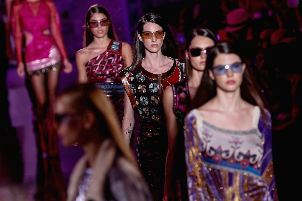 BARCELONA, June 28, 2017 - Models present creations by Custo Barcelona during the 080 Barcelona Fashion Week, in Barcelona, Spain, June 28, 2017.