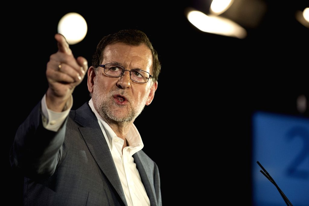 BARCELONA, June 5, 2016 - Acting Spanish Prime Minister Mariano Rajoy delivers a speech during an electional event of People's Party (PP) in Barcelona, Spain, on June 4, 2016. Acting Spanish Prime ... - Mariano Rajoy