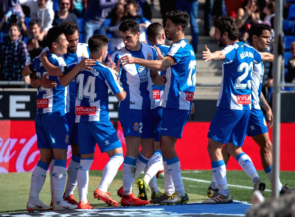 BARCELONA, March 2, 2019 - RCD Espanyol's Wu Lei (1st L) celebrates his goal with teammates during a Spanish league match between RCD Espanyol and Valladolid in Barcelona, Spain, on March 2, 2019. ...