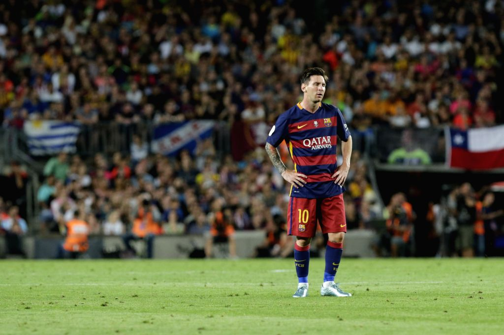 Barcelona's Lionel Messi reacts during the Spanish Super Cup second leg soccer match against Athletic Bilbao at Camp Nou stadium in Barcelona, Spain, on Aug. 17, ...