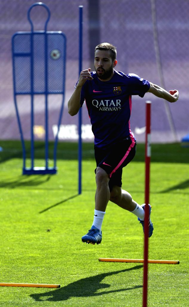 Barcelona's player Jordi Alba attends the team's training session at Joan Camper sport city in Barcelona, Spain, on 07 April 2015. Barcelona will be facing Almeria on 08 April 2015 at the Camp Nou ...