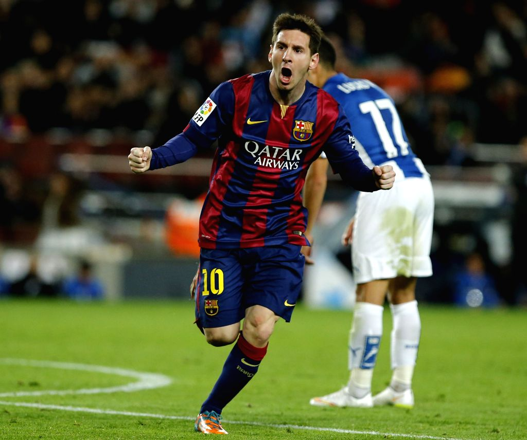 Barcelona (Spain): Barcelona's Argentine forward Lionel Messi celebrates his goal during the Spanish first division soccer match against FC Espanol at the Camp Nou Stadium in Barcelona, Spain, on ...