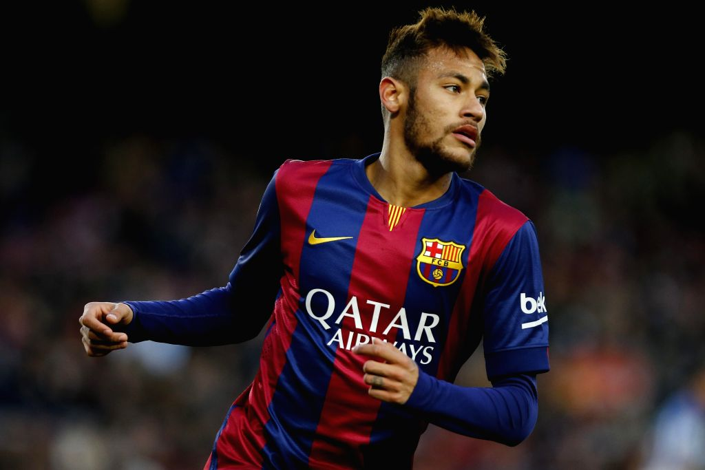 Barcelona (Spain): Barcelona's Brazilian forward Neymar reacts during the Spanish first division soccer match against FC Espanol at the Camp Nou Stadium in Barcelona, Spain, on Dec. 7, 2014. ...