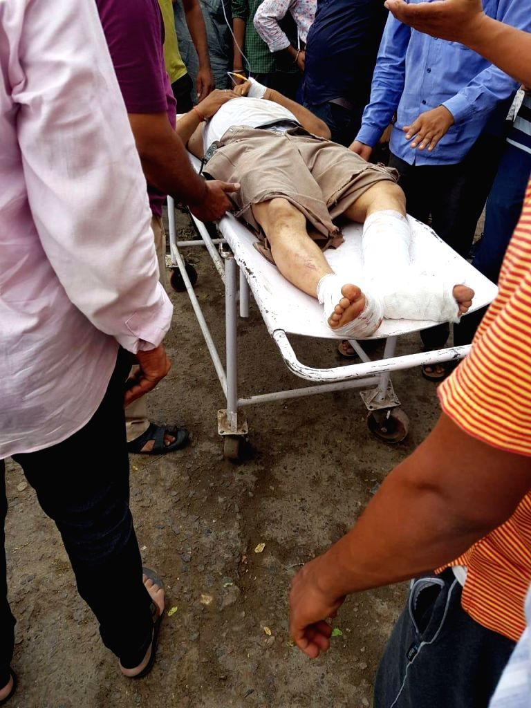 Barmer: One of the injured person being taken to a nearest hospital after a massive tent erected for people attending a religious gathering collapsed during a dust storm in Rajasthan's Barmer, on June 23, 2019. Around 11 people died and many were inj