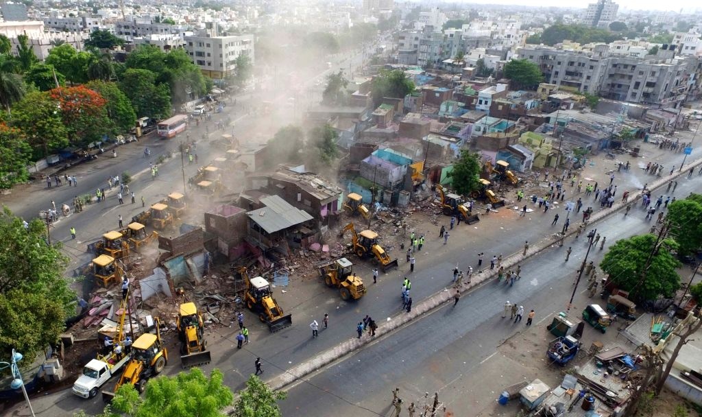 Baroda : Violence breaks out during a Baroda Municipal Corporation demolition drive  on May 31, 2016.