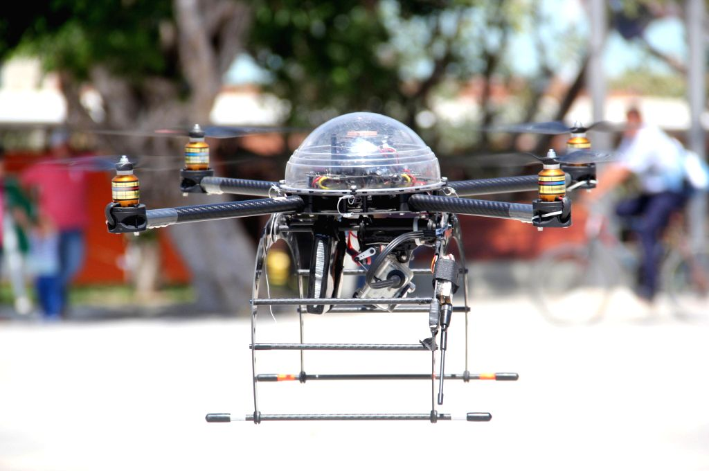 An unmanned aerial vehicle is tested by the Barranquilla Police, prior to the carnival in Barranquilla, Colombia, on Feb. 4, 2015, The Metropolitan Police of ...