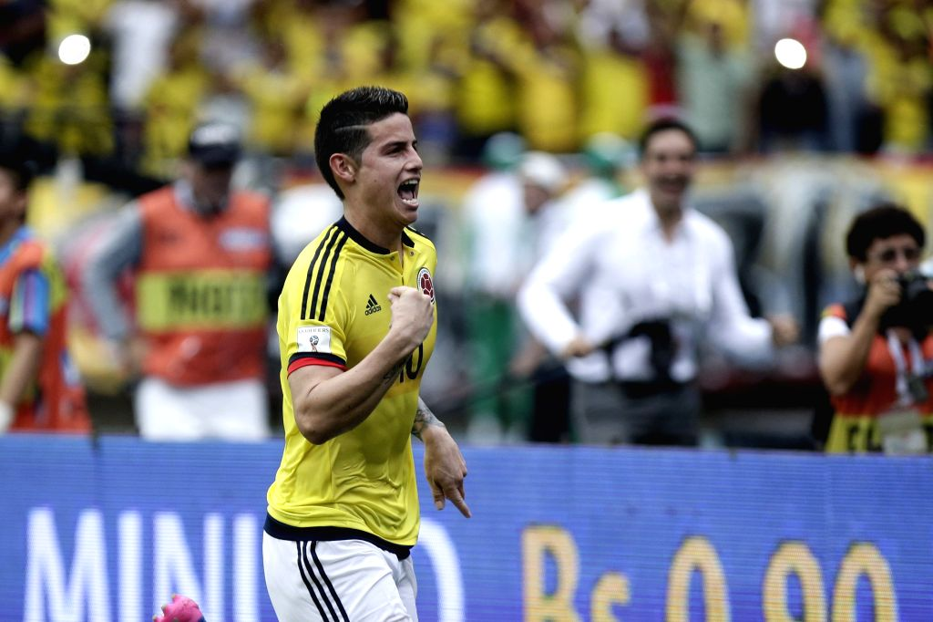 BARRANQUILLA, March 24, 2017 - Colombia's James Rodriguez celebrates after scoring during the match for the South American qualifiers for the Russia 2018 FIFA World Cup against Bolivia, held in the ...