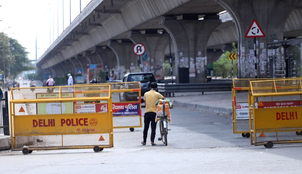 Barricades placed at the Delhi-Faridabad Border that has been sealed in the wake of the countrywide lockdown imposed to contain the spread of novel coronavirus, on March 30, 2020.