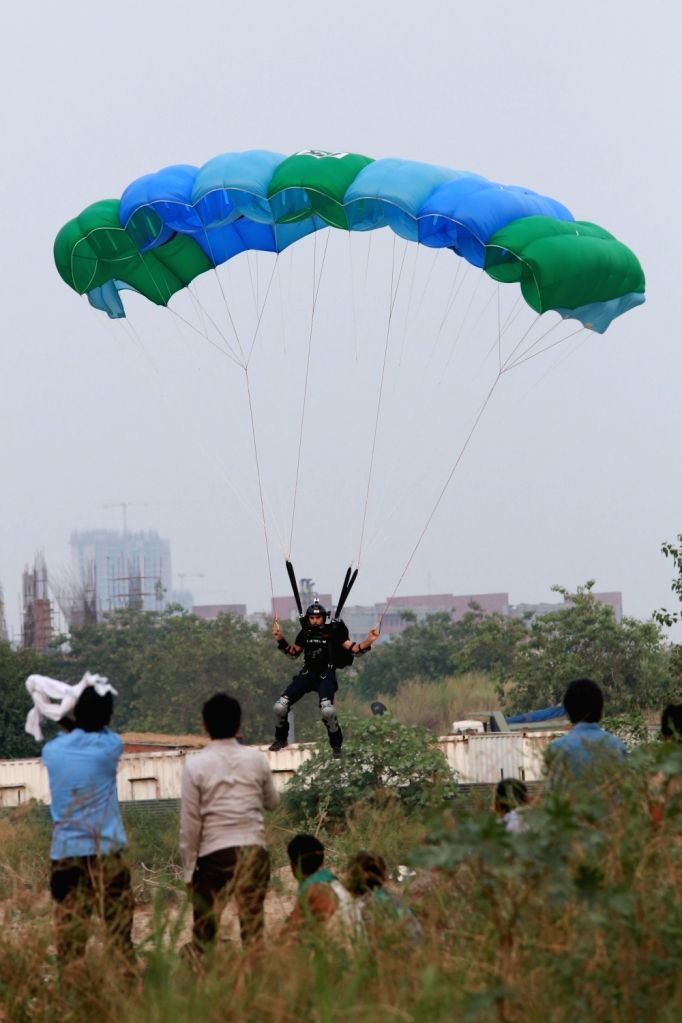 BASE - building, antenna, span and earth - jumper Lt. Col (Retd.) Satyendra Verma, jumps off an under-construction skyscraper in Noida. - Satyendra Verma