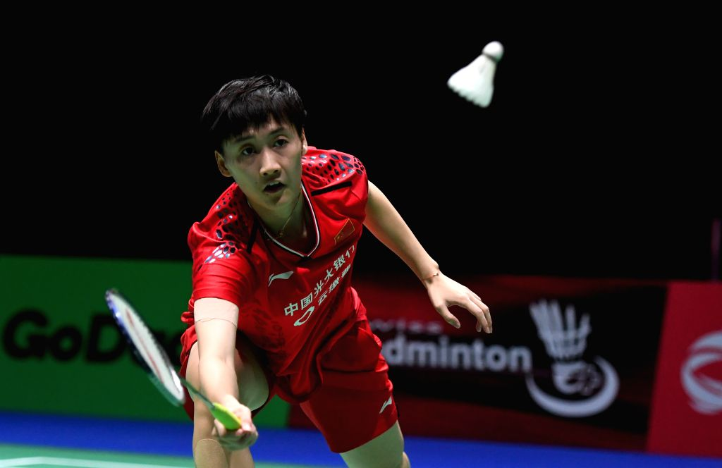 BASEL, Aug. 24, 2019 - China's Chen Yufei competes during the women's singles semifinal match against India's Sindhu Pusarla V. at the BWF Badminton World Championships 2019 in Basel, Switzerland, ...