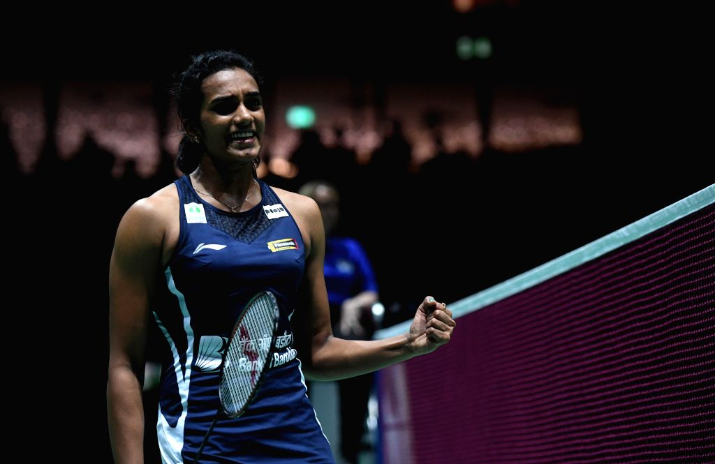 BASEL, Aug. 24, 2019 - India's Sindhu Pusarla V. celebrates during the women's singles semifinal match against China's Chen Yufei at the BWF Badminton World Championships 2019 in Basel, Switzerland, ...