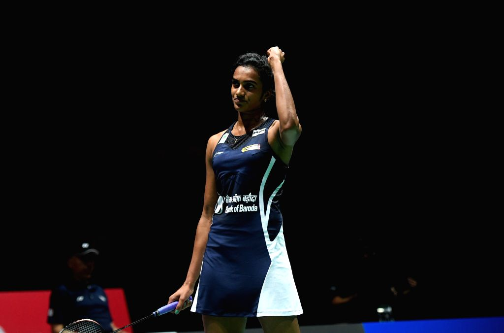 BASEL, Aug. 24, 2019 - India's Sindhu Pusarla V. celebrates after the women's singles semifinal match against China's Chen Yufei at the BWF Badminton World Championships 2019 in Basel, Switzerland, ...