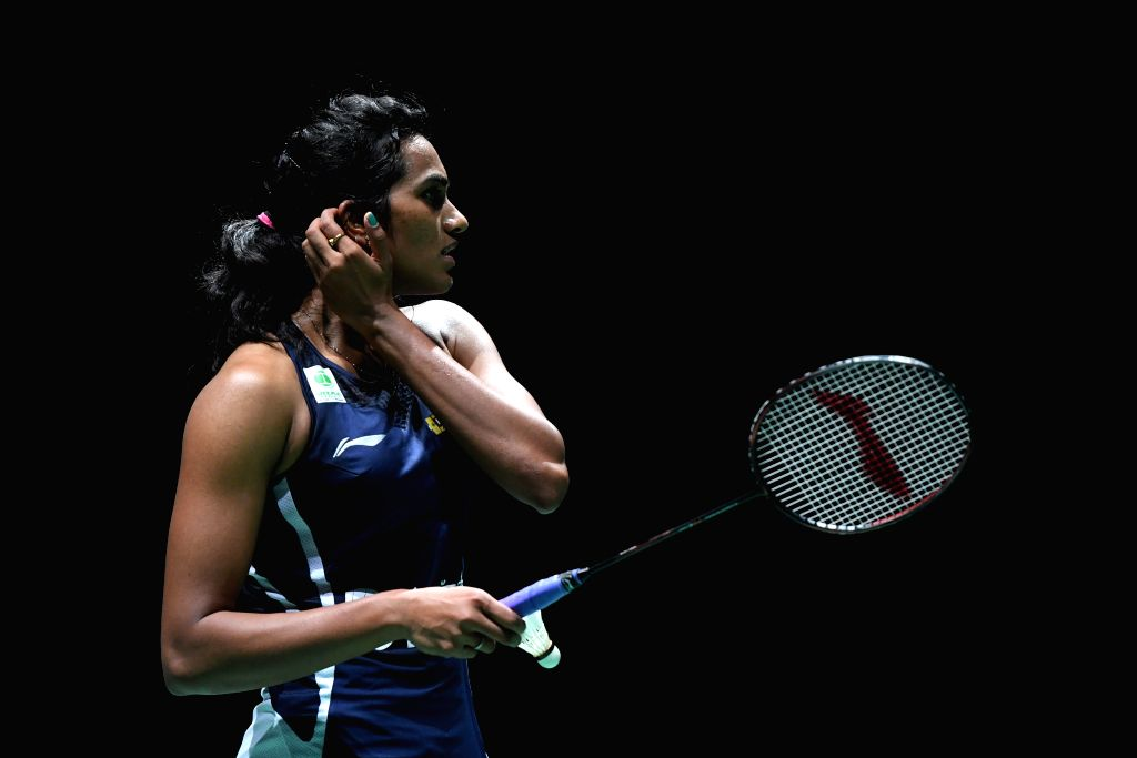 BASEL, Aug. 24, 2019 - India's Sindhu Pusarla V. reacts during the women's singles semifinal match against China's Chen Yufei at the BWF Badminton World Championships 2019 in Basel, Switzerland, Aug. ...