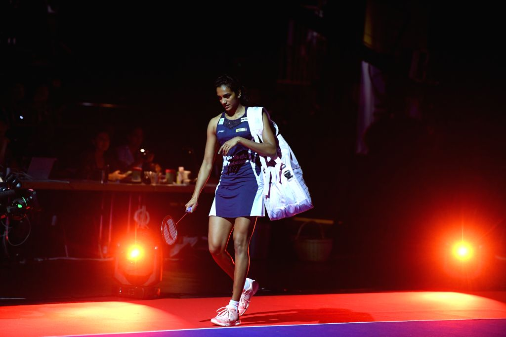 BASEL, Aug. 24, 2019 - India's Sindhu Pusarla V. walks into the court before the women's singles semifinal match against China's Chen Yufei at the BWF Badminton World Championships 2019 in Basel, ...
