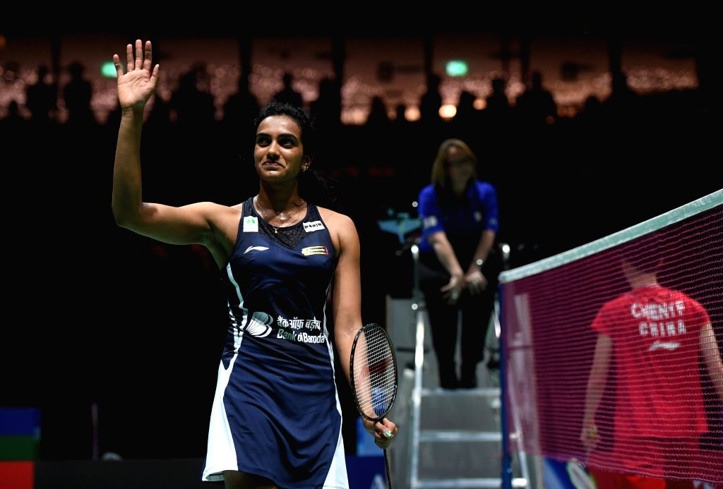 BASEL, Aug. 24, 2019 - India's Sindhu Pusarla V. waves to the spectators after the women's singles semifinal match against China's Chen Yufei at the BWF Badminton World Championships 2019 in Basel, ...