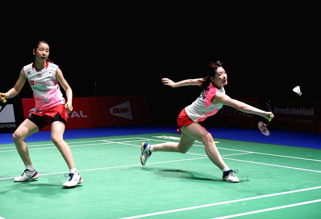 BASEL, Aug. 25, 2019 - Mayu Matsumoto (R)/Wakana Nagahara of Japan compete during the women's doubles semifinal match against Greysia Polii/Apriyani Rahayu of Indonesia at the BWF Badminton World ...