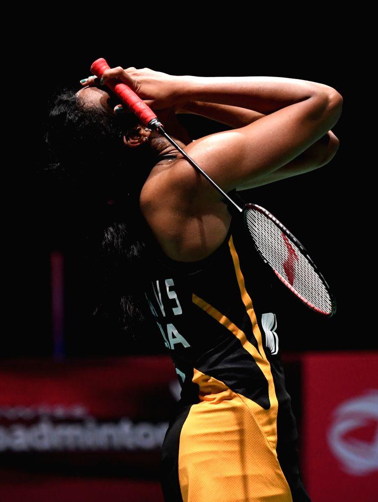BASEL, Aug. 25, 2019 (Xinhua) -- India's Sindhu Pusarla V. celebrates after the women's singles final match against Japan's Okuhara Nozomi at the BWF Badminton World Championships 2019 in Basel, Switzerland, Aug. 25, 2019. (Xinhua/Li Jundong/IANS)