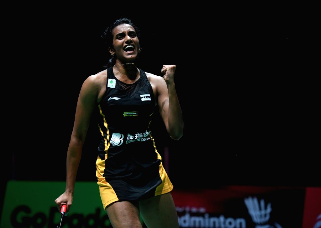 BASEL, Aug. 25, 2019 (Xinhua) -- India's Sindhu Pusarla V. celebrates during the women's singles final match against Japan's Okuhara Nozomi at the BWF Badminton World Championships 2019 in Basel, Switzerland, Aug. 25, 2019. (Xinhua/Li Jundong/IANS)