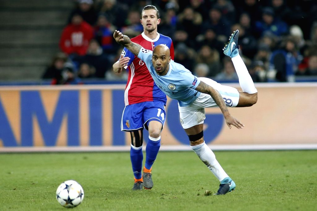 BASEL, Feb. 14, 2018 - Fabian Delph of Manchester City (R) competes during the UEFA Champions League round of 16 first leg soccer match between FC Basel and Manchester city, in Basel, Switzerland, ...