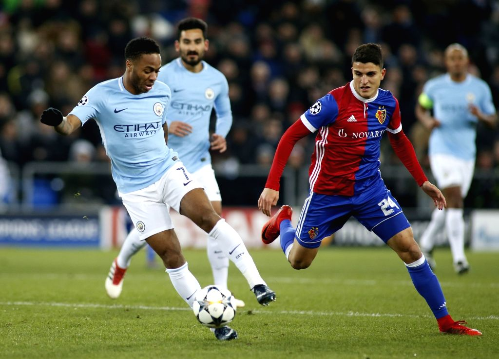 BASEL, Feb. 14, 2018 - Raheem Sterling of Manchester City (L) competes during the UEFA Champions League round of 16 first leg soccer match between FC Basel and Manchester city, in Basel, Switzerland, ...