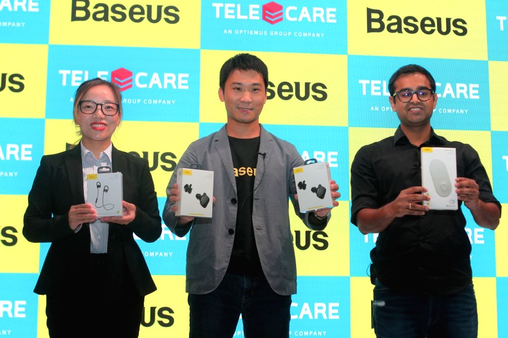 Baseus General Manager Vivian Wang, Founder Cu He and Teleecare Network India Pvt. Ltd CEO Deepesh Gupta at the launch of Baseus mobile accessories in India including TWS Earpods, Smart ... - Deepesh Gupta