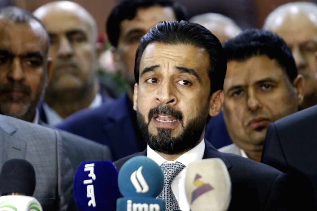 BASRA (IRAQ), Sept. 18, 2018 Iraqi new parliament speaker Mohammed al-Halbousi speaks during a press conference in Basra, Iraq, Sept. 18, 2018. Mohammed al-Halbousi Tuesday visited the ... - Mohammed