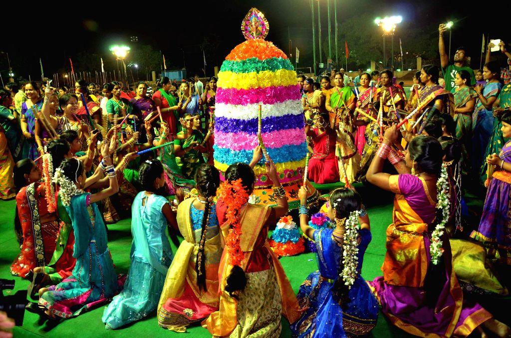 Bathukamma celebrations underway in Hyderabad, on Oct 19, 2015.