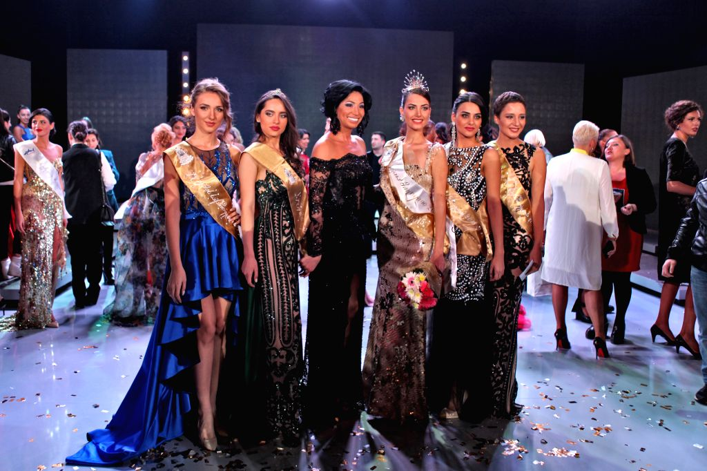 24-year-old Nuka Karalashvili(Front, 3rd R) poses during the 2015 Miss Georgia Contest held in Batumi, Georgia, Nov. 1, 2015. Karalashvili won the 2015 Miss Georgia ...
