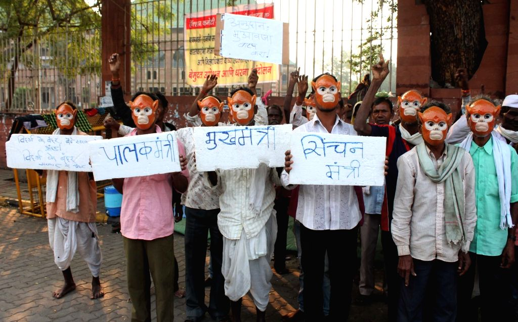 Bawanthadi irrigation project-affected farmers stage a demonstration against the Maharashtra government in Nagpur on Feb 13, 2018.