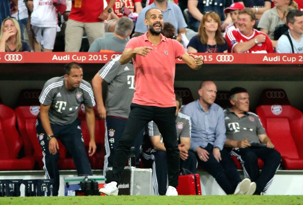 Bayern Munich's head coach Pep Guardiola reacts during the Audi Cup 2015 final between Bayern Munich and Real Madrid in Munich, Germany, on Aug. 5, 2015. Bayern ...