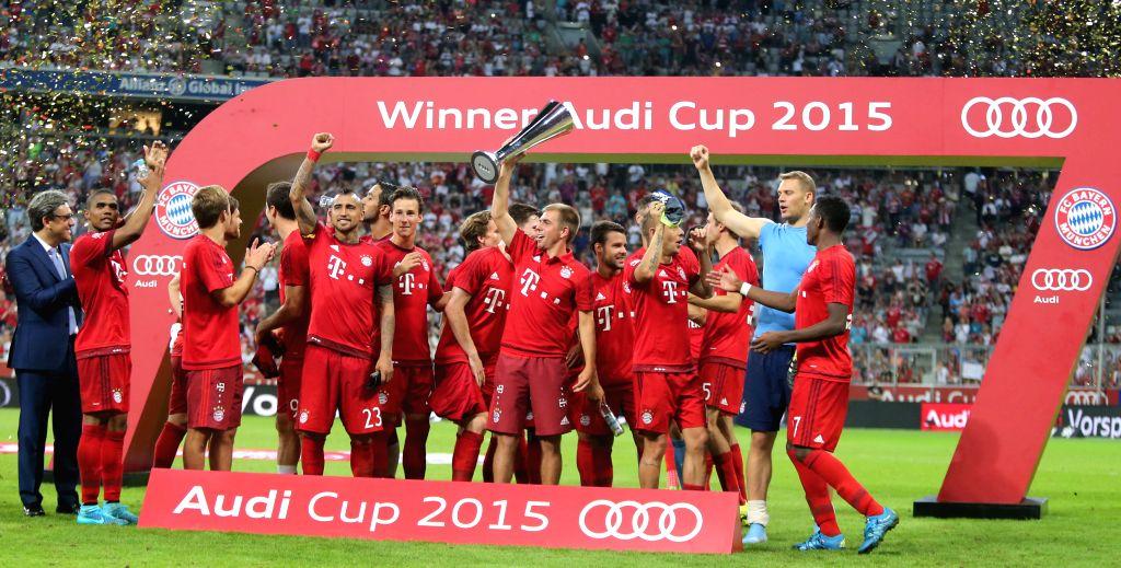 Bayern Munich's players celebrate after winning the Audi Cup 2015 final match between Bayern Munich and Real Madrid in Munich, Germany, on Aug. 5, 2015. Bayern ...