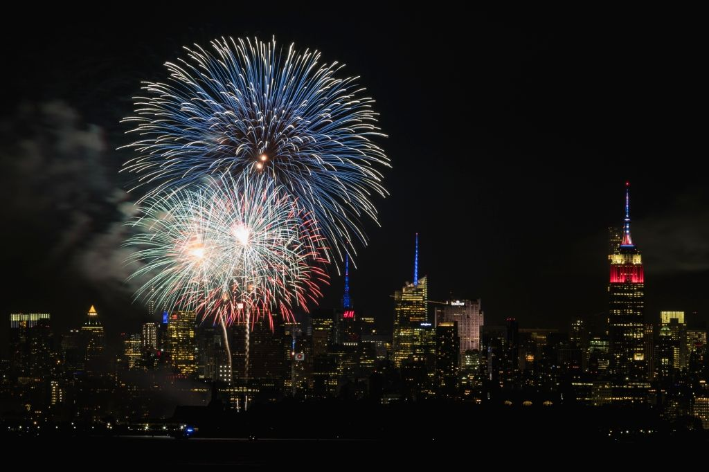 BAYONNE, July 5, 2017 - Photo taken from Bayonne, New Jersey, shows fireworks exploding over the Hudson River with Manhattan skyline in the background to celebrate the Independence Day of the United ...