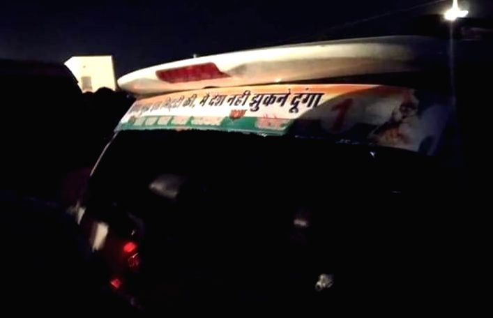 Baytu: A convoy of Nagaur MP Hanuman Beniwal and Union Minister of State Kailash Choudhary that was damaged after stones were pelted upon it, at Baytu in Rajasthan's Barmer on Nov 13, 2019. The incident happened when Beniwal and Choudhary were going  - Kailash Choudhary