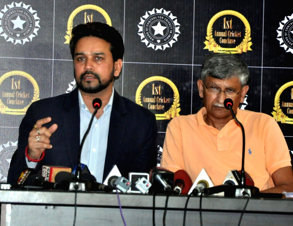 BCCI president Anurag Thakur and secretary Ajay Shirke during a press conference in Dharamsala, on June 23, 2016.