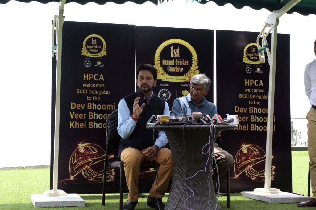 BCCI President Anurag Thakur and secretary Ajay Shirke during a press conference after culmination of 1st Annual Cricket Conclave in Dharamsala, on June 24, 2016.