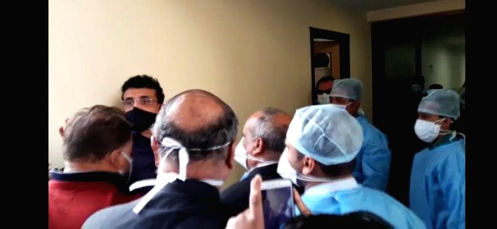 BCCI president Sourav Ganguly arrive at private hospital for his cardiac treatment in Kolkata on Jan 27, 2021.. - Sourav Ganguly