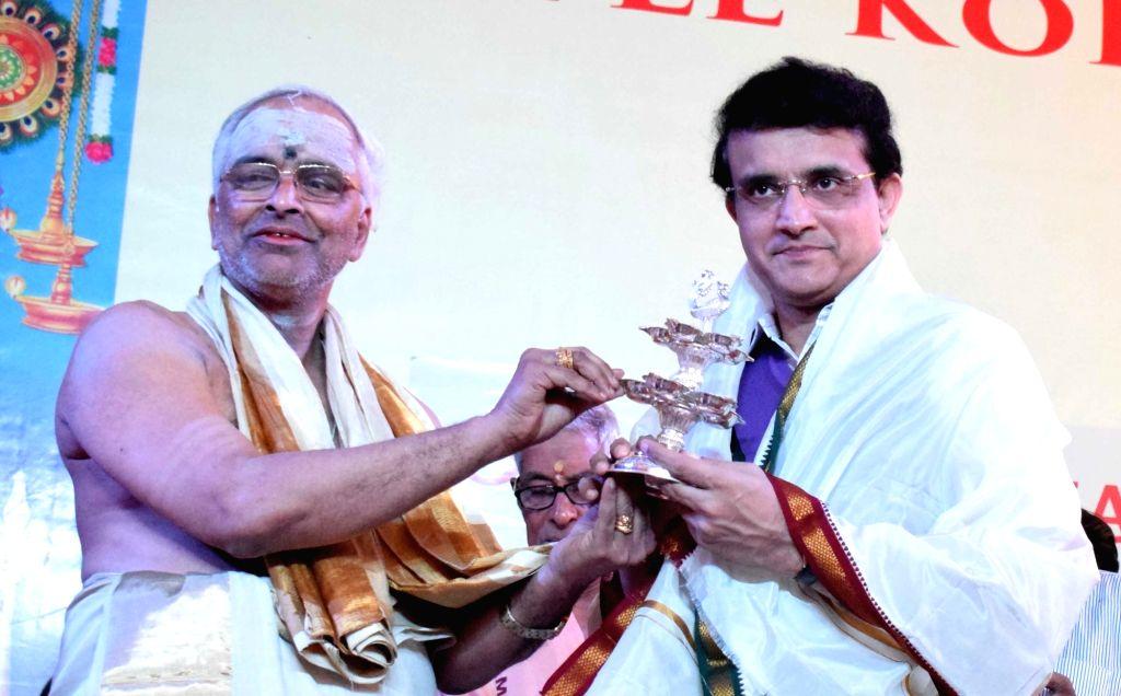 BCCI President Sourav Ganguly being felicitated during the Silver jubilee celebrations of Sree Guruvayurappan Temple, in Kolkata on Jan 25, 2020. - Sourav Ganguly